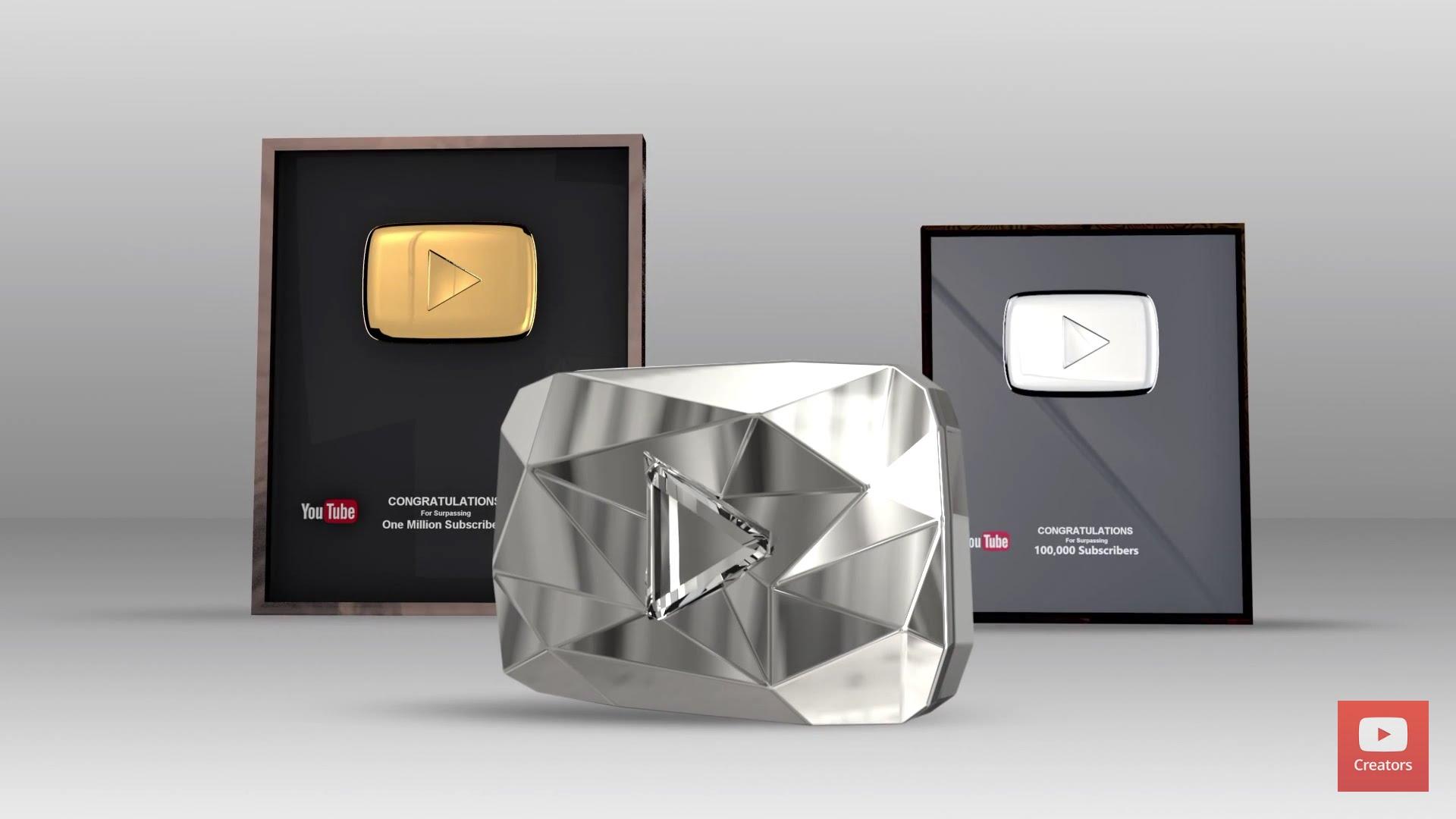 Награда от YouTube (серебряная, золотая и бриллиантовая кнопки)